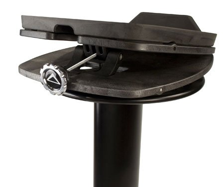 1 Pair Studio Monitor Column Stands in Black with Adjustable Angle and Axis, Foam Platform