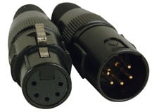 Two 5-Pin XLR Connectors with Gold Pins - 1 Male & 1 Female