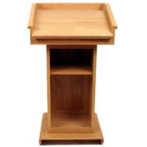 Wireless Victoria Lectern with Handheld Wireless Transmitter in Oak Finish