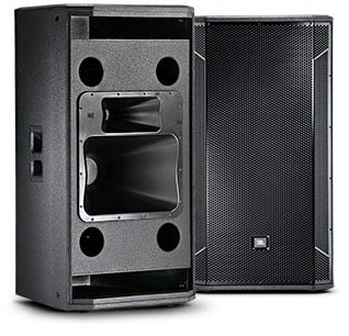 "Dual 15"" Three-Way with Horn-Loaded MF/HF Section, Slot-Loaded LF"