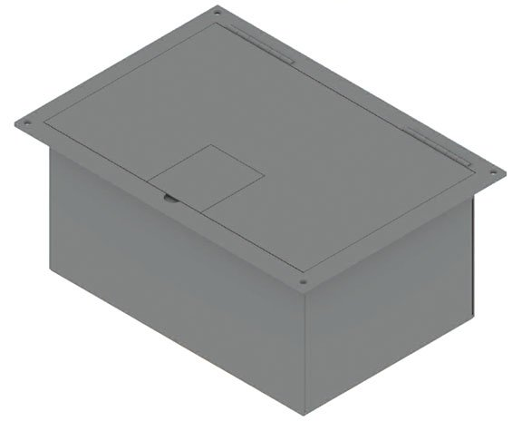 FSR, Inc FL-1500-2D-BLK Floor Box with Hnged Lid, #10088, Black FL-1500-2D-BLK