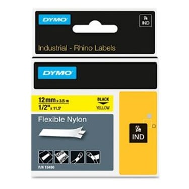 "1/2"" Industrial Flexible Yellow Nylon Label Tape for Rhino Label Printers"