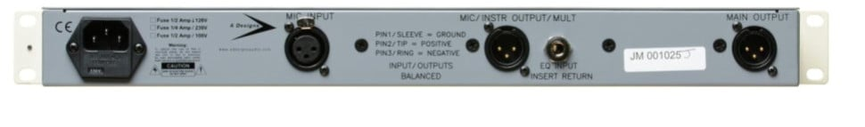 Mono Solid-State Microphone Preamp with 3-Band EQ, DI, & Pad