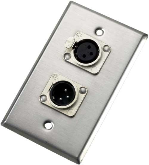 Single Gang Wall Plate with 3-pin XLR-M & XLR-F Connectors