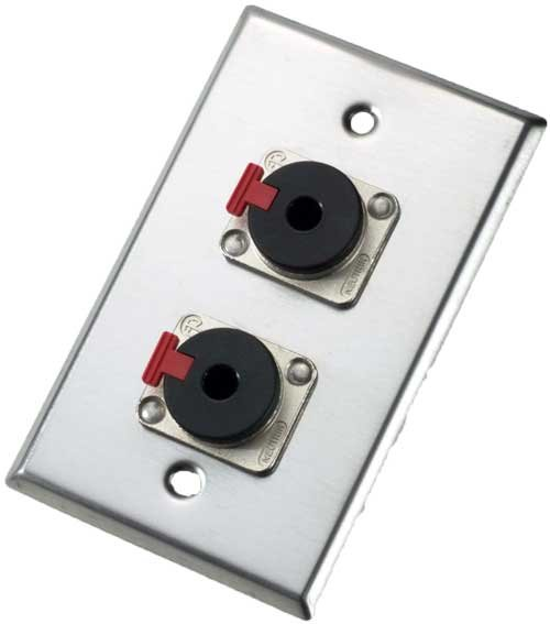 "Single-Gang Wall Plate with 2x Locking TRS 1/4"" Receptacles"