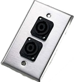 Single-Gang Wall Plate with 2x NL4MP Speakon Connectors