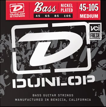 Dunlop Manufacturing 2PDBN45105 2 Pack of Medium Nickel Electric Bass Strings 2PDBN45105