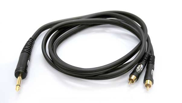 "10 ft Dual RCA-Single 1/4""TS Cable"