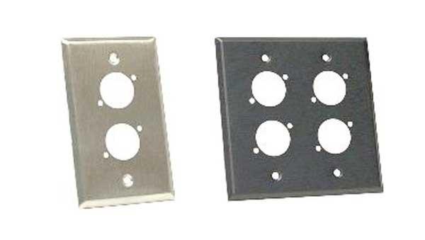 Stainless Steel Wall Plate, Single Gang, for Neutrik D XLR