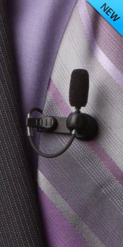 B2 Lavalier Microphone with TA4F Connectors for Shure Wireless in Black