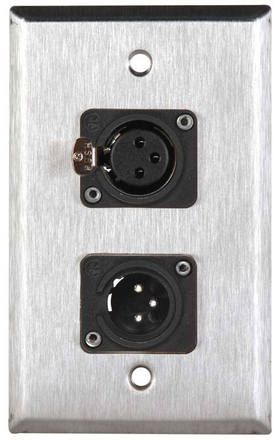 Single Gang Wall Plate with 1 XLRM and 1 XLRF