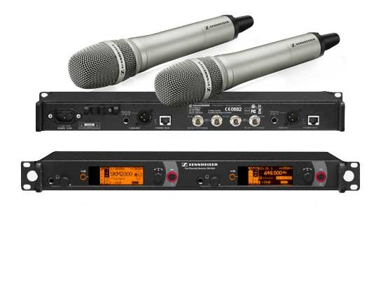 Dual Channel Handheld Wireless Mic System, w/KK 205 Capsules, Black