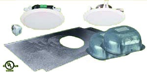 """2x 5"""" Ceiling Speakers Package (1 Amped, 1 Non-Amped, with PS, Backcan, Tile Bridge, NO Volume Control)"""