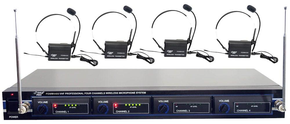 4 Mic VHF Rack Mount Wireless Lavalier/Headset System