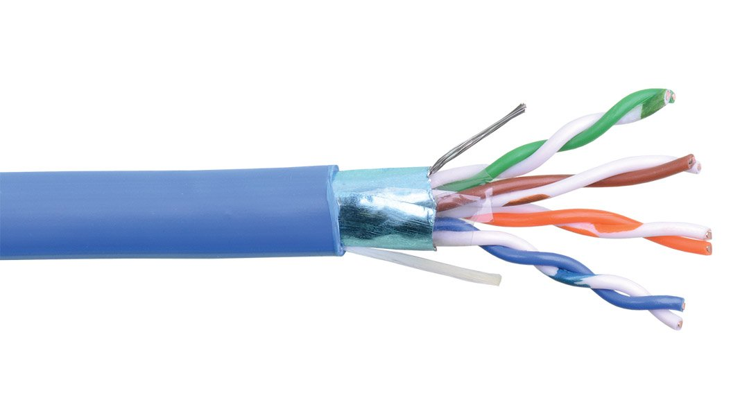 1000 ft of CAT5e 24 Gauge 4 Pair Shielded Twisted Pair Cable in Blue