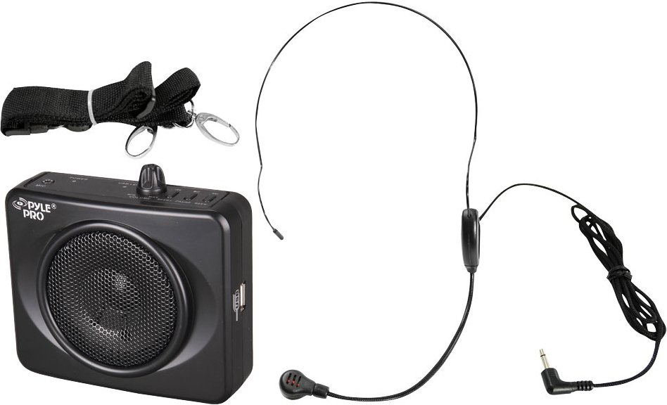 50W Portable Waistband PA Amplifier in Black with Headset Microphone and USB Port