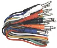 "Patch Cables, Stereo 1/4"" Male to Stereo 1/4"" Male, 1 Foot (Pack of 8)"