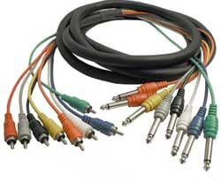 "8-Channel Audio Snake, Unbalanced 1/4"" Male to RCA Male, 6.6 Feet"