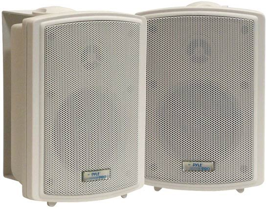 "Pair of 3.5"" Indoor/Outdoor Waterproof Wall-Mount Speakers in White"