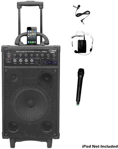 800W Dual Channel Wireless Rechargeable Portable PA System with iPod/iPhone Dock, FM Radio, USB & SD Card Slots, Handheld and Lavalier Mics