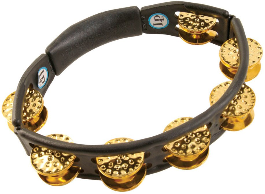 Cyclops Handheld BlackTambourine with Dimpled Brass Jingles