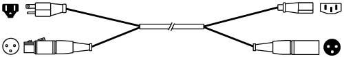 Siamese Twin Audio/Power Cable - Edison Plug/XLR-F to IEC/XLR-M, 25ft