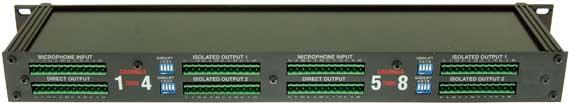 8-Channel 3-Way Rack-Mount Microphone Splitter
