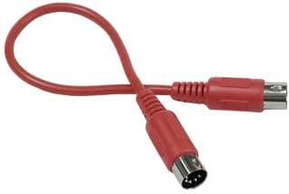 Hosa MID-301 MIDI Cable, Black (red shown), 1 ft MID-301