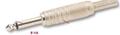 """Canare F15-CANARE  2-pole 1/4"""" male Phone Plug, solder terminals F15-CANARE"""