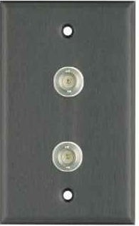 Plateworks Single-Gang Black Anodized Aluminum Wall Plate with 2x BNC Connectors