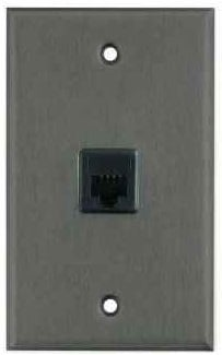 Plateworks Single-Gang Black Anodized Aluminum Wall Plate with 1x RJ45 Jack