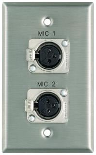 "Plateworks Single-Gang Stainless Steel Engraved Wall Plate with 2x Latching XLR-Fs: ""Mic 3"" & ""Mic 4"""