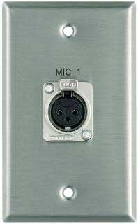 "Pro Co WPE111 Plateworks Single-Gang Stainless Steel Engraved Wall Plate with 1x XLR-F: ""Mic 3"" WPE111"
