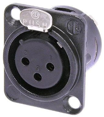 3-Pin XLR Female Chassis Mount Receptacle in Black with Solder Springs
