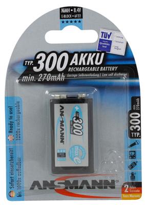 Rechargable 300 mAh 9-Volt Battery