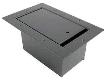 Vertical Half Pocket Stage Box, with Steel Bezel, Standard Pocket Body, Slant Panel, Black Powder Coat