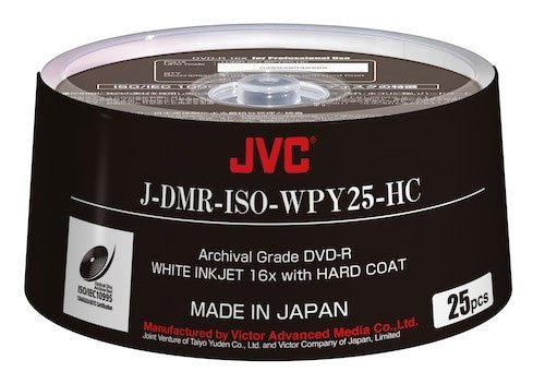 25-Pack of ISO Certified White Inkjet Printable Archival DVD-R Discs
