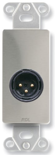 3-Pin XLR-M Jack on Stainless Steel Decora Wall Plate