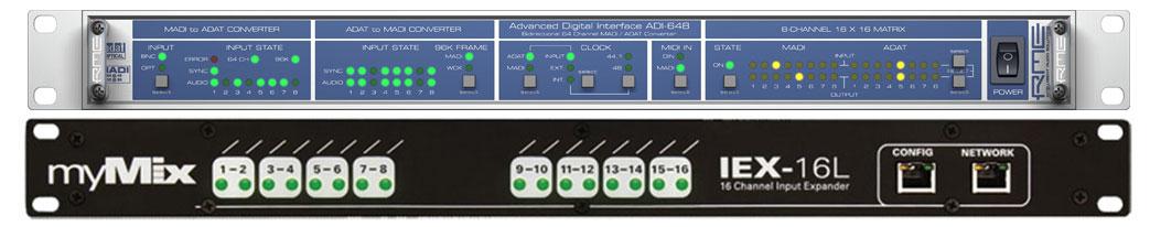 (1) RME ADI-648 with (1) myMix IEX16L-A (MADI to myMix Interface)
