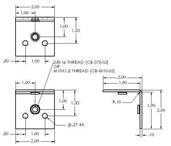 "Internal Corner Brace 3/8-16"" thread"