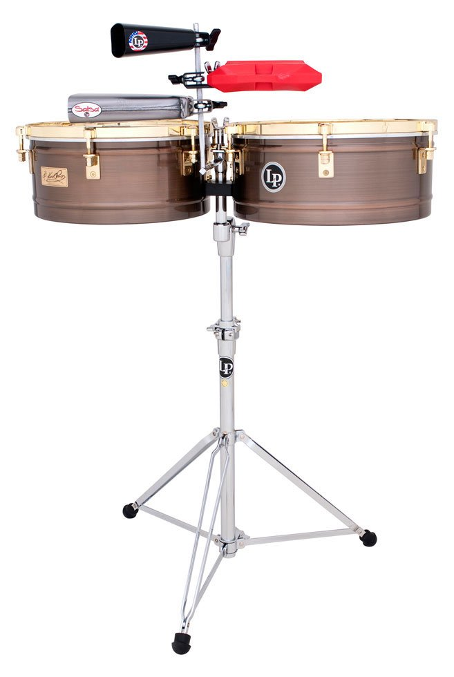 Karl Perazzo Signature Series Timbales in Antique Bronze with Gold Hardware