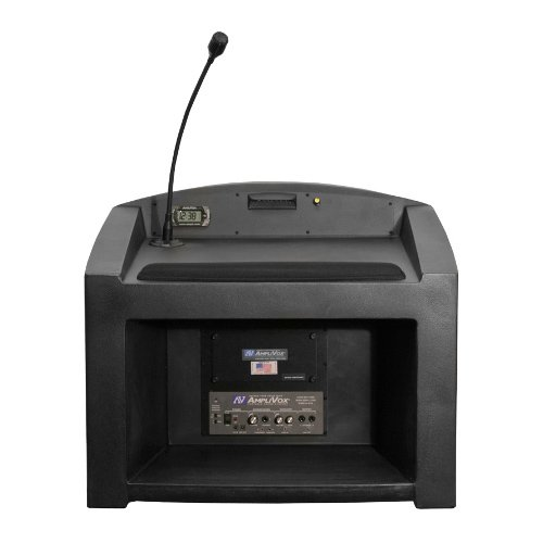 Wireless Pinnacle Tabletop Lectern with Lapel Microphone Transmitter