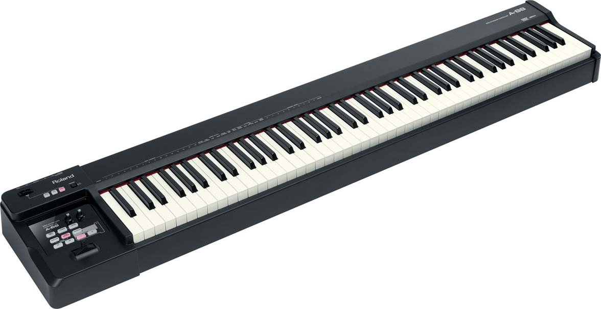 roland a 88 88 key midi keyboard controller in black full compass. Black Bedroom Furniture Sets. Home Design Ideas