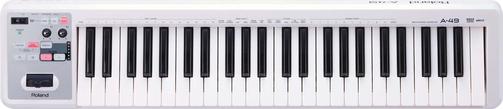 49-Key MIDI Keyboard in White
