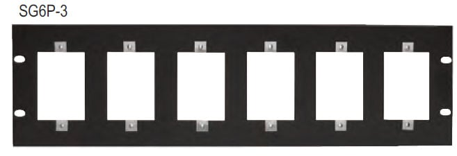 Lowell SG6P-3  Single Gang 6-Hole Panel (3 RU) SG6P-3