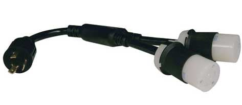0AWG Heavy Duty Power Splitter Cable, NEMA L6-30P to (2) NEMA L6-30R
