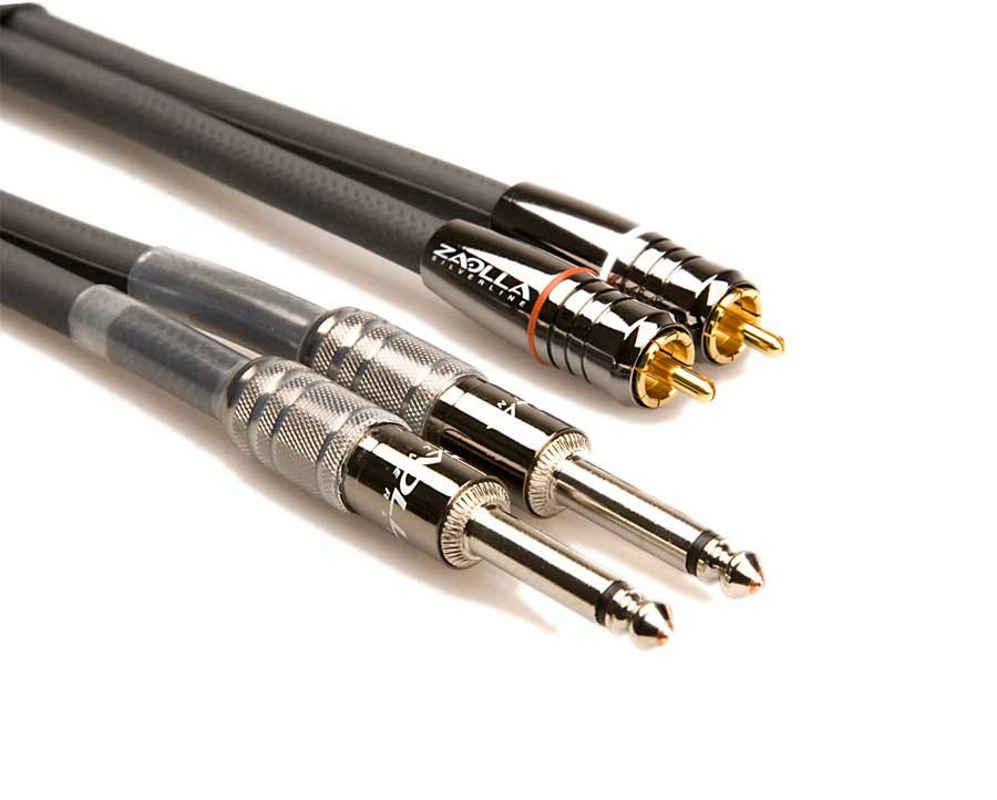 "Audio Cable, Dual RCA Male - Dual 1/4"" Male, 15 Feet"