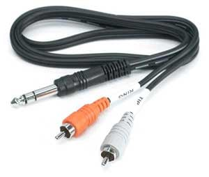 "Send/Return Cable, Stereo 1/4"" Male to Dual RCA, 3.3 Feet"