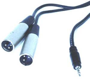 "Audio Y-Cable, Stereo 1/8"" to Two XLR Males, 6.6 Feet"