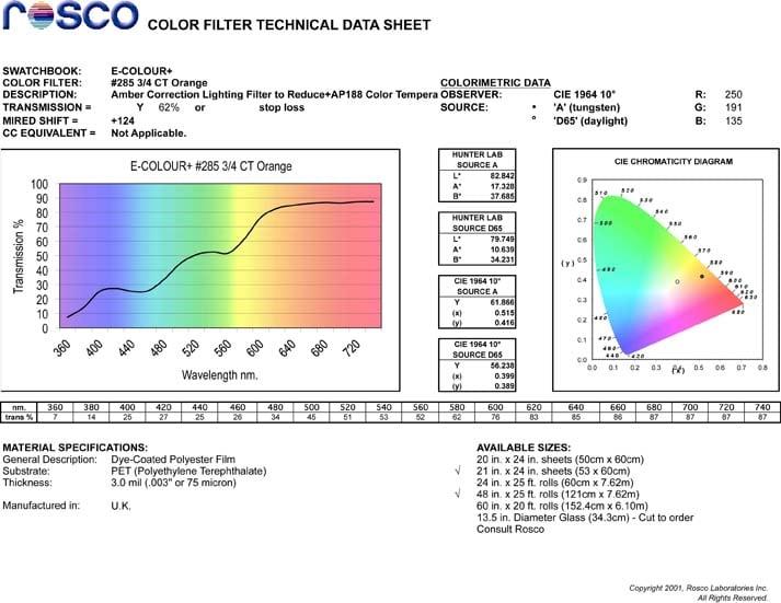 "21"" x 24"" Sheet of 3/4 CT Orange Daylight Conversion Filter"